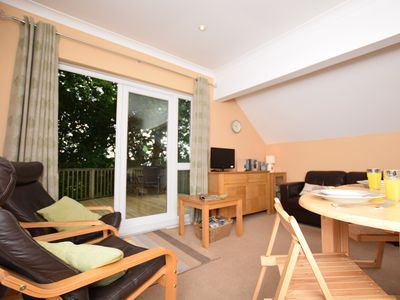 Living room with french doors onto the decking