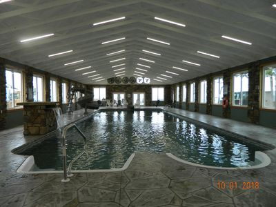 Photo for NEW CABIN! INDOOR POOL! ASTOUNDING! HOTTUB, FIREPLACE, FIREPIT Chatt TN 21 Miles