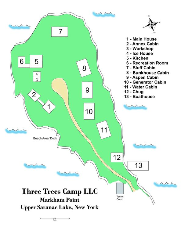 Three Trees Camp Private Estate on Upper Saranac Lake suitable for