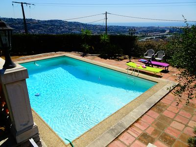 Photo for Large Studio Saint-Laurent du Var (Nice), open sea view, terrace, swimming pool