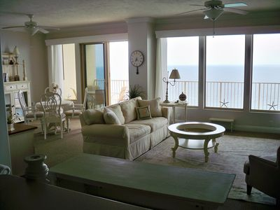 Spectacular views from this pristine gulf front living area with 9 feet windows