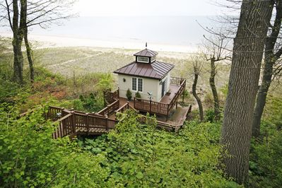 Beach side Gazebo, with outdoor shower and small living room w/sleeper couch