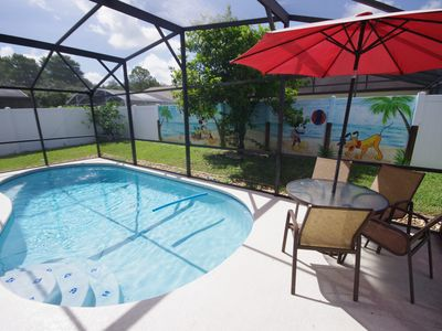 Photo for Minnies Cinema Room,   Pool Fenced for Privacy,  4 miles to Disney HOT TUB!