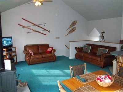 Family Room with Leather Sofa and Love seat
