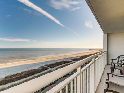 Oceanfront direct views!  2BR Camelot 607. Lazy river, hot tub & great location!