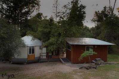 view of Yurt and cook house/ Bathroom