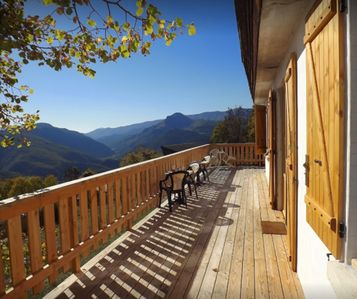 Photo for Chalet with terrace, magnificent view, in the heart of the Roanne Valley