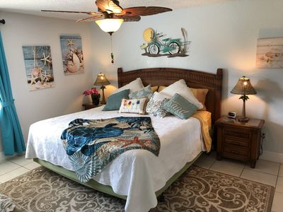 Master Bedroom , King Pillow Top Bed, Private Bathroom.