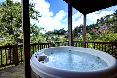Enjoy Endless Mountain Views from the Hot Tub at Mountain Aerie!