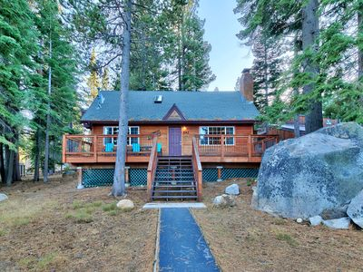 Photo for 4 Bedroom Tahoe Cabin Backing to Forest, Hot tub, Fireplace, Peaceful Setting