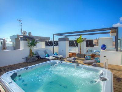 Photo for Ibiza Royal Beach Blue Jacuzzi penthouse two bed apartment