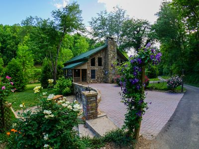Photo for Timber frame log cabin with hot tub located on NC Stocked Trout Stream!
