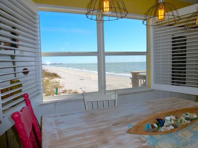 Southern views of the beach from the dining table