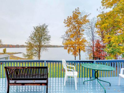 Photo for Charming lakefront home w/ private beach and gorgeous views - dogs ok