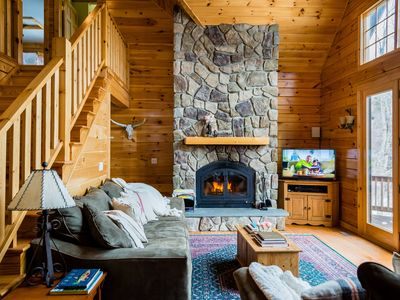 Photo for Dreamy Lakefront Log Cabin - 2hrs from NYC! Sleeps 14 (5Bed/3Bth) 7 private acre