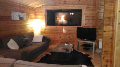 Photo for Cozy apartment in an independent chalet in logs, garage, garden, 180 ° view