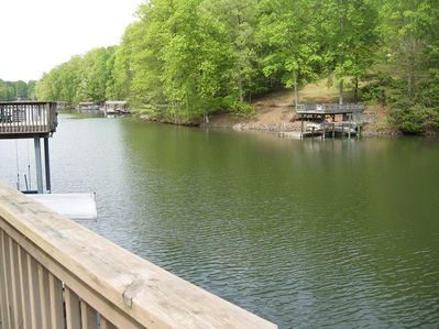 Great, quiet long cove that opens to wide water.  Perfect cove for swimming and kayaking!