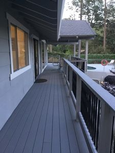 Back deck leading to pool.