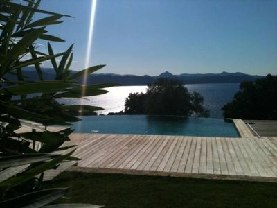 Photo for Villa on 8000m2 stunning views Gulf of St Florent infinity edge pool