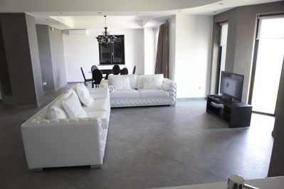 First floor living room and dining area