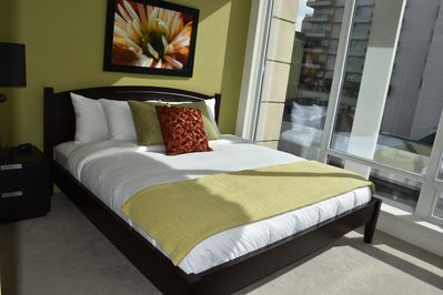 Master bedroom with King bed and Eucalyptus bedding and duvet.