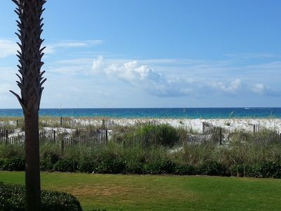 Stunning view from the back patio of the emerald waters of the gulf and dunes.