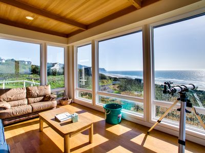 Photo for Luxury, oceanfront beach home with private hot tub - dogs OK!