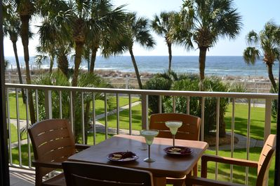 Awww This is living!  What a view from the condo balcony!  Dine outside!