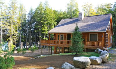 Photo for Secluded Lakefront Log Home With Private Shore, Hot Tub. Great swimming, fishing