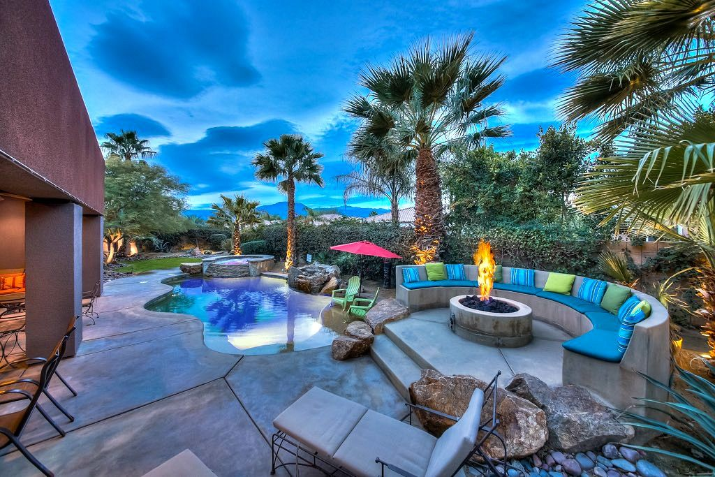 avalon gorgeous pool w waterfall spa firepit misters fun - Cool Pools With Waterfalls In Houses