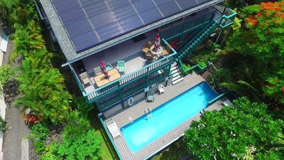Bird's eye view of the Kona Lighthouse side  facing ocean.....steps to the pool