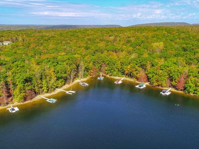 Photo for Lakefront home w/ lake view, private hot tub & dock - dogs OK