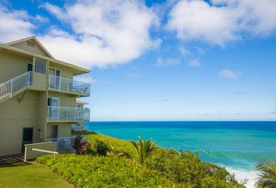 Fabulous oceanfront location with a trail down to a beach and cave!