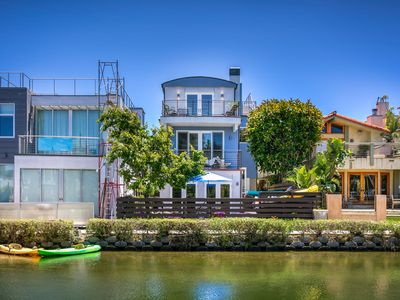 Photo for New Listing! Luxe Venice Canal-Front Home - Roof Patio, Pool, Walk to Beach!