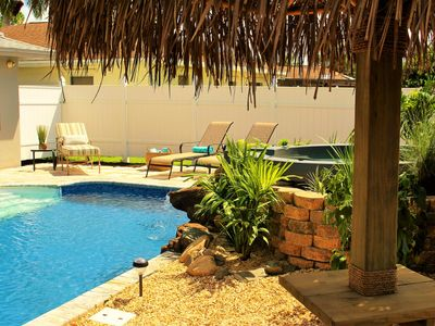 Photo for New Beach Cottage-Heated Pool,Spa,Waterfall,Hanging Swing, Palapa,3bed/sleeps 8