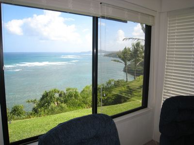 The view of the coastline and Kilauea Lighthouse from the living room window.