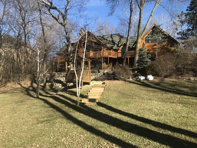Photo for Beautiful Log Cabin On The Lake With Over An Acre Of Land