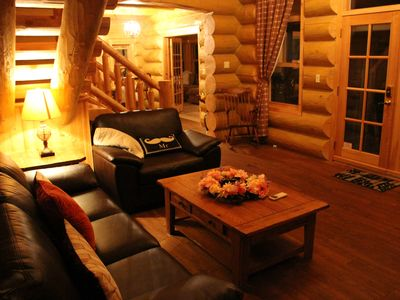 Photo for Luxury lakefront Log Home Near St Sauveur with private hot tub and sauna