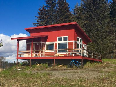 Photo for Amazing views of Kachemak Bay and Cook Inlet from modern, new cabin.