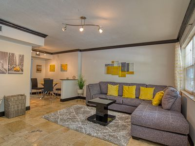 Photo for Renovated ground-level condo - steps to Convention Center, 4 blocks to beach!