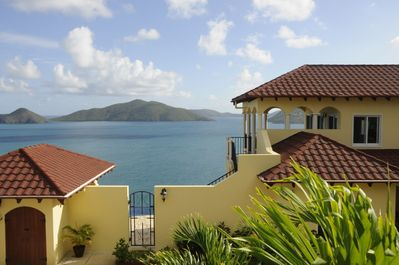 The pool entry to the infiniti pool and the stunning view of Guana Island
