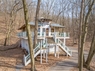 Photo for Private 3 BR/4 Bath home tucked in the woods walking distance to Lake Michigan