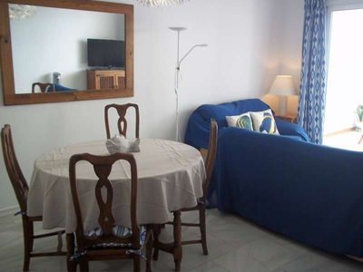 Photo for Apartment TYLUX in Costa Teguise for 4 persons with shared pool, garden, balcony, views to the ocean, views of the volcanoes, WIFI and less than 10m to the sea