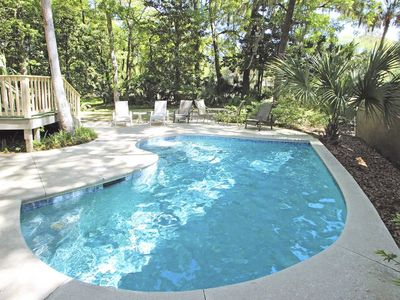 Photo for Dog-friendly house w/ private pool, game room, golf views & more - walk to beach