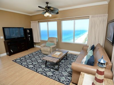 Photo for Incredible 27th-floor condo! Stunning sunset views! Free DVD rentals! Minutes to Pier Park!