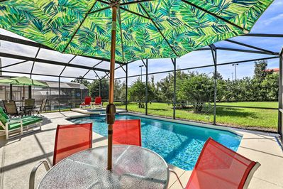 This family home boasts a lanai complete with a private pool and a lovely mural.