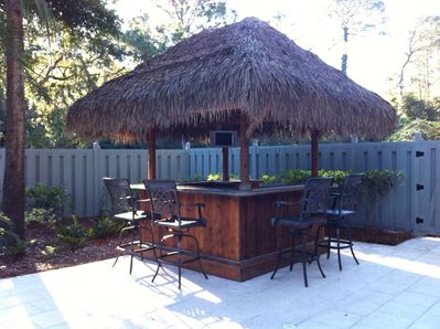Party at the Tiki Hut, complete with a LED cable TV and built in ice cooler