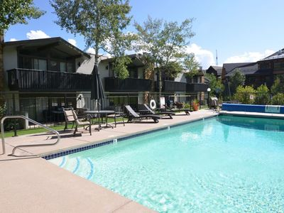 Photo for Snowmass Mtn. Walk to Restaurants. Patio & Outdoor Pool/Hot Tub. Parking/Fireplace. Ski-In/Out.