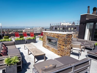 Photo for ☆ Downtown | Balcony w Rocky Mtn. views | Free Bikes | Roof Deck!