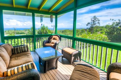 Screen lanai serves as a second living room. Ocean views!